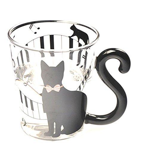 Tasse en Verre Tasse de Thé Mug Créatif Chat Mignon Musique Tia-Ve