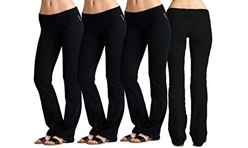 EAG 3 Pack Fold Over Waistband Stretchy Cotton Active wear Yoga Pants (2X, Black/Black/Black)