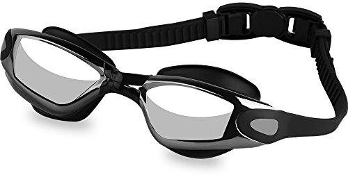AKASO Swim Goggles, Anti-Fog UV-Protection, No-Leak, Shatterproof Swimming Goggles(Black/Silver)