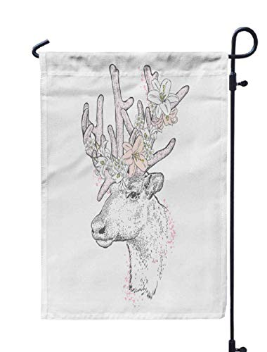 Shorping Welcome Garden Flag, 12x18Inch Beautiful Deer in Flower Wreath Card Poster Print Clothes Fashion amp Style Wild Animal for Holiday and Seasonal Double-Sided Printing Yards Flags