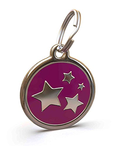UNLEASHED.DOG Customizable Engraved Dog ID Tag - Stainless Steel with Stars Enamel Inlay - Purple | - Tags Enamel Id Dog