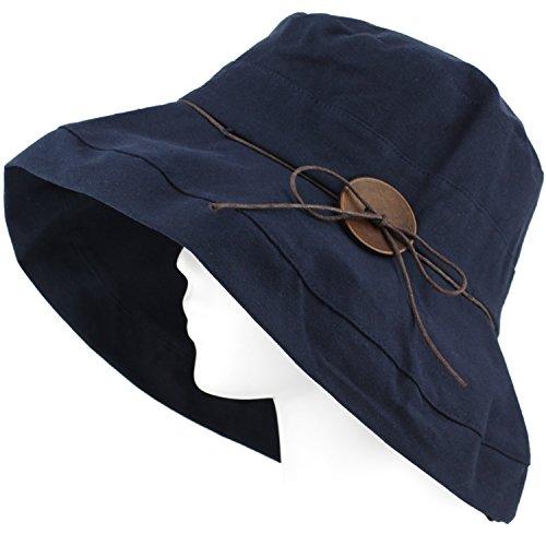 Packable Summer Beach Sun Hat - Soft Wide Brim, Wood Button, w Strap - Navy - Beach Stores City Clothing Panama