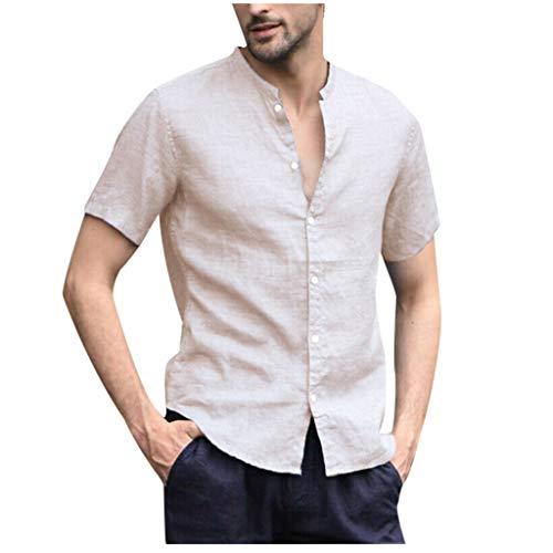 TOPUNDER Men's Baggy Cotton Linen Solid Short Sleeve Button Retro T Shirts Tops Blouse Beige