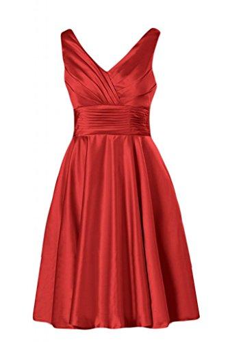 Bridesmaid da maniche Homecoming Sunvary in e scollo Gowns a Rosso Cocktail corte raso V con wS0aq07xz