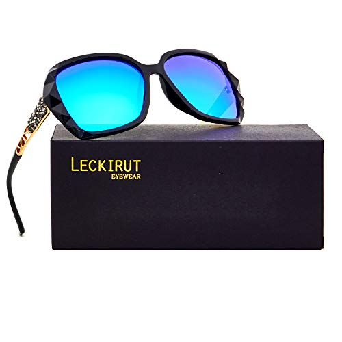 Leckirut Women Shades Classic Oversized Polarized Sunglasses 100% UV Protection Eyewear back frame/blue lens