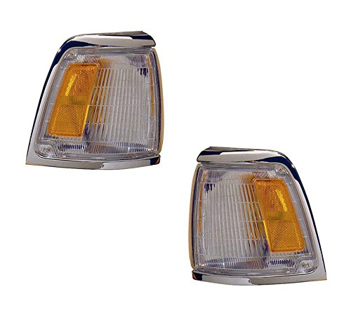 (1992-1995 Toyota Pickup Truck 2WD 4x2 (With Chrome Trim, Paint to Match) Corner Park Light Turn Signal Marker Lamp Pair Set Right Passenger And Left Driver Side (1992 92 1993 93 1994 94 1995 95))