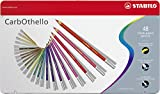 STABILO Carbothello Pastel Chalk Pencil Set in Metal Tin - Assorted Colours (Pack of 48) with Sharpener, Kneaded Eraser and Blending Stump