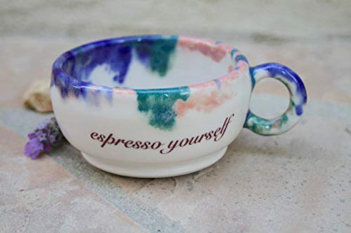 Floral Demitasse Cup - Blue, pink and green Espresso Yourself Coffee Cup, handmade pottery small mug