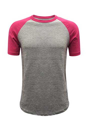 Tone Raglan T-shirt (ILTEX Raglan Short Sleeve Baseball Style T-Shirt Adult Casual Wear (4X-Large, Gray/Hot-Pink))