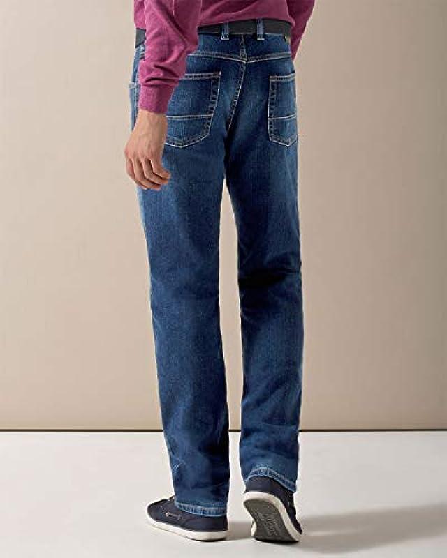 Bugatti dżinsy męskie spodnie Straight Leg Regular Fit niebieskie Stoned Washed (nr art.: 3280D-16640): Odzież