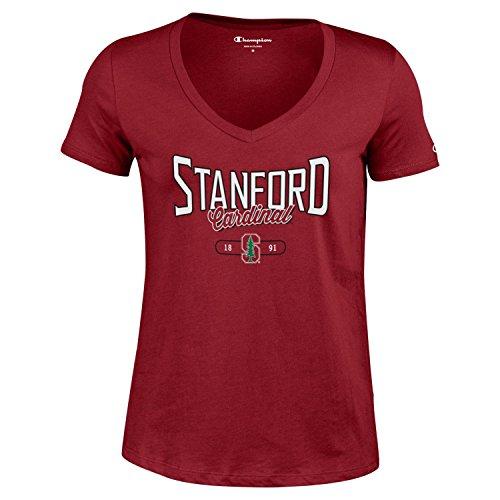 (Champion NCAA Women's University Short Sleeve Tagless Lady's V-Neck Tee, Stanford Cardinal, Small)