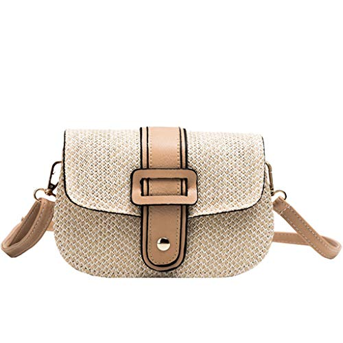 ♠Leaf2you Ladies Woven Saddle Bag Flap Stitching Leather Small Crossbody Linen Weaving Bags Shoulder Bag