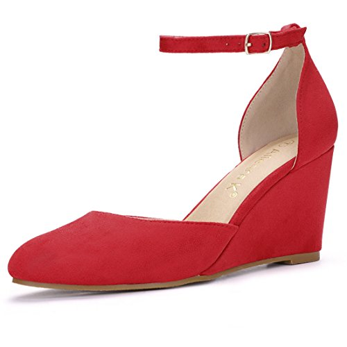 Allegra K Women's Rounded Toe Buckled Ankle Strap Wedge Pumps (Size US 9.5) Red (Ankle Wedge Toe Strap)