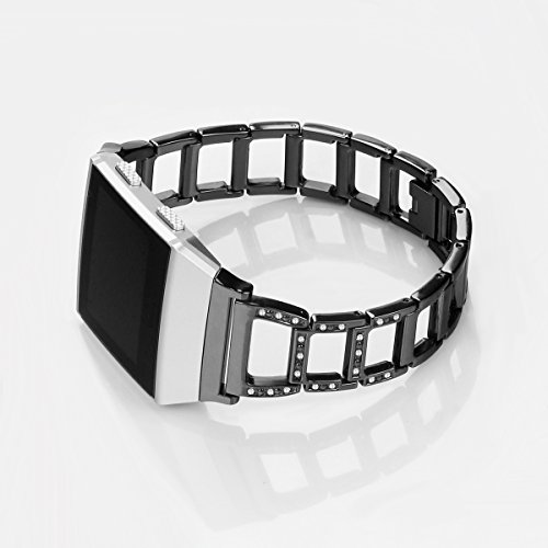 (Fitbit Ionic Band Metal Accessories Small Large, Stainless Steel Replacement Band with Folding Clasp Strap for Fitbit Ionic Smart Watch Bands Wristband Women Men(Tracker Not Include) (A-black))