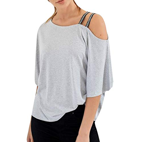 Tantisy ♣↭♣ Womens Short Sleeve Casual Cold Shoulder Spaghetti Halter Off Shoulder Tops Strappy T Shirts ()