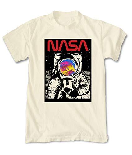 (Riot Society NASA Astronaut Moon Mens T-Shirt - Cream, Large )