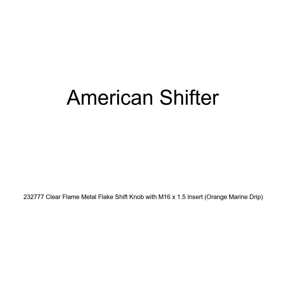 American Shifter 232777 Clear Flame Metal Flake Shift Knob with M16 x 1.5 Insert Orange Marine Drip