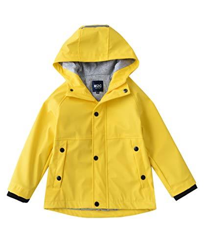 - M2C Boys Girls Hooded Cotton Lined Waterproof Rain Jackets Windproof Raincoats Yellow 4/5
