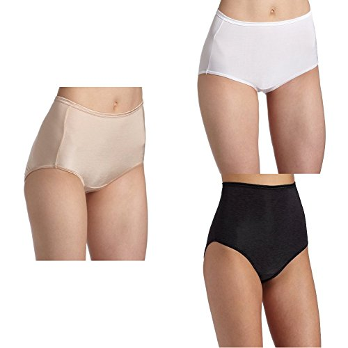 Vanity Fair Women's Illumination Brief Panty 13109, Rose Beige/Star White/Midnight Black, 3X-Large/10