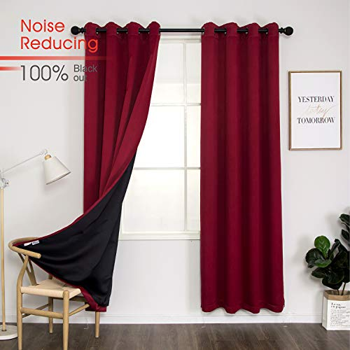 Thermal 100% Blackout Grommet Curtain for Room,Double-Layer Multi-Function Noise Reducing Performance Drapes with Black Lining, Full Light Blocking Drapery Panels,1 pair,52'x84', Dark Red