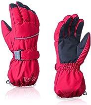 Kids Winter Glove Boys Girls Snow Ski Waterproof Gloves for Teens Fleece Lining Warm Mittens Outdoor