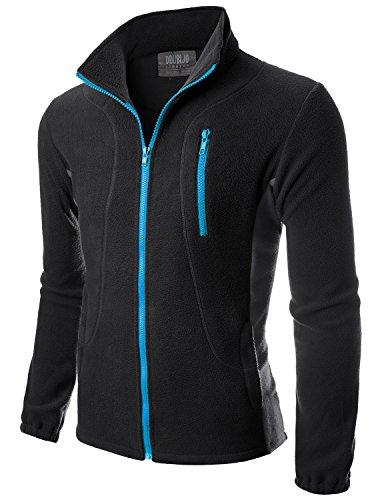 (Doublju Mens Colorblock Full Sleeve Zippered Front Pockets Lightweight Fleece Jacket BLACKCHARCOAL,S )