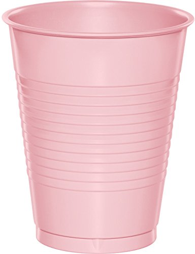 Creative Converting 28158081 Touch of Color Plastic Cups, 16 oz, Classic Pink