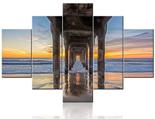 Native American Decor Crashing Waves under the Manhattan Beach Pier Pictures for Living Room Paintings 5 Pcs/Multi Panel Canvas Wall Art Giclee Wooden Framed Gallery-wrapped Ready to Hang(60