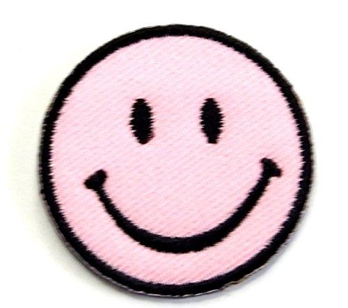 【ノーブランド品】アイロンワッペン ミニワッペン ワッペン 刺繍ワッペン スマイル ピンク アイロンで貼れるワッペン