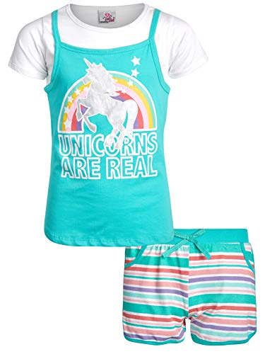 Toddler Designers - Real Love Girls 2-Piece French Terry Short Set, Mint Unicorn, Size 4T'