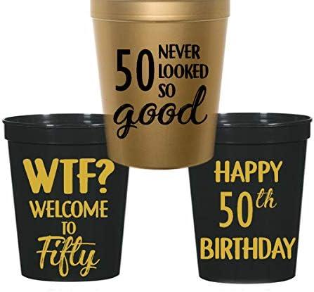 Amazon.com: 50 cumpleaños estadio plástico tazas – Wtf ...