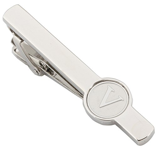 (Dannyshi Men Tie Clip 2.1 Inch Silver Plated Stainless 26 Letters A-Z + Gift Box (Silver-V))