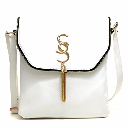 Lady Small Crossbody Bag Purse Lightweight Multi Pocket Shoulder Bag Messenger Bag Faux Leather White