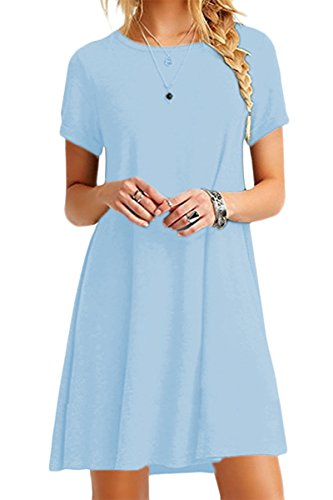 YMING Casual Loose Shirt Dress for Women Elegant A Line Fashion Dress Sky Blue XL -