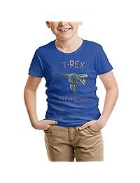 SLHOIUEWCV Dinosaur T-Rex Running Toddler Children Short Sleeve Summer Round Neck Summer Tops