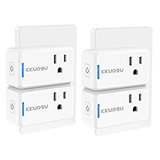 Smart Plug 4-Pack Upgraded Mini WiFi Smart Socket Outlet Work with Amazon Alexa Echo/Google Assistant and IFTTT, No Hub Required by KKUP2U