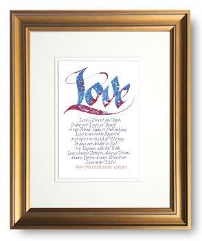 Amazoncom B Love 1 Corinthians 13 Framed Calligraphy Print