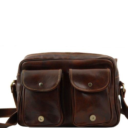 Tuscany Leather San Marino - Bolso de viaje en piel con bolsillos delanteros Marrón oscuro Bolsos en piel Negro