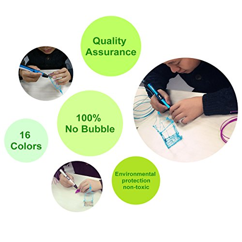 3D Pen Filament Refills PLA 16 Colors 40 Feet 1.75mm with 200 Stencils eBook Total 640 Feet 3D Art Pen Filament for TIPEYE, Canbor, MYNT3D, DigiHero, Zerofire, Dikale, BeTIM 3D Printing Pen and etc by TIPEYE (Image #7)