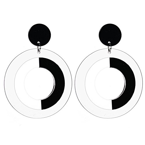 Hollow Black White Big Round Circle Earrings Pendant Female Acrylic Drop Earrings for (Acrylic White Earrings)