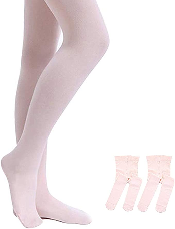 Toddler Baby Girls Ballerina Pale Pink White Ballet Tights Footed Age 2-8 years