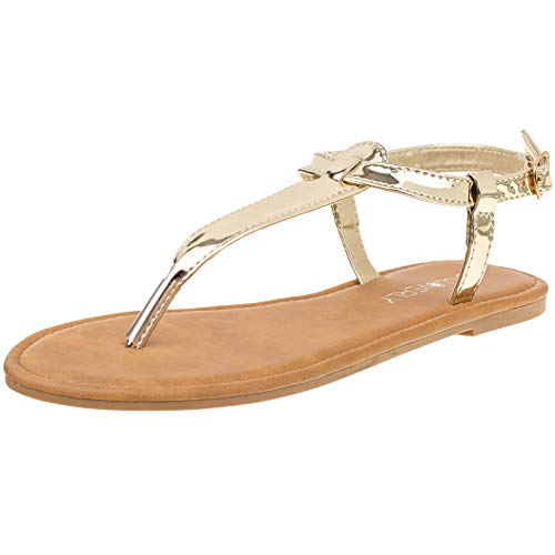 Red Circle Women's T Strap Thong Gladiator Strappy Jelly Shiny Flat Flip Flops Sandals (8, Gold)