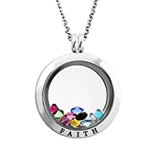 20-25 MM Stainless Steel Faith Engraved Floating Glass Charm Locket Pendant Necklace