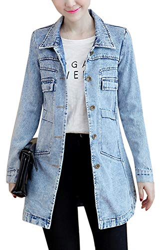 Lunghe Taglia Blu Le Donne Jeans Jean Camicia Di Maniche Giacca Sopliagon A 8f4xp1xw