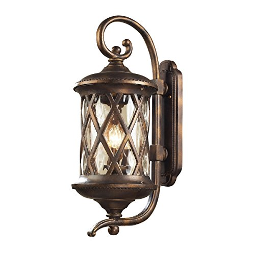 Elk Gate Barrington - Elk Lighting 42032-3 Barrington Gate 3 Light Large Transitional Outdoor Wall Lamp Lighting Fixture, Hazlenut Bronze, Designer Waterglass, B11860