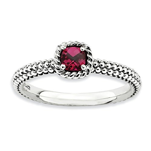 Antiqued Sterling Silver Stackable Created Ruby Ring, Size - Stackable Ring Ruby Created