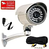"VideoSecu CCTV Outdoor Day Night Vision IR Infrared Security Camera Built-in 1/3"" SONY CCD Weatherproof with Free Power Supply and Camera Cable 1OQ"