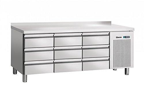 Table réfrigérée ventilée, 9 tiroirs avec dosseret 50 mm