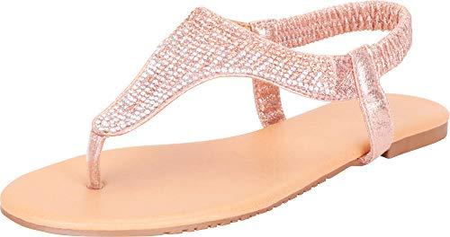 Cambridge Select Women's T-Strap Ombre Crystal Rhinestone Thong Slip-On Flat Sandal (8.5 B(M) US, Champagne)
