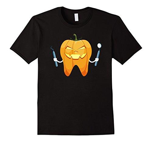 [Mens Halloween Tooth Pumpkin Dentist Funny Gift T-Shirt Large Black] (Funny Dentist Costume)